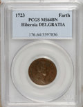 1723 FARTH Hibernia Farthing, DEI GRATIA MS64 Brown PCGS. PCGS Population (18/0). NGC Census: (0/0). (#176)...(PCGS# 176...