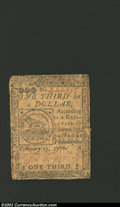 Colonial Notes:Continental Congress Issues, February 17, 1776, $1/3, Continental Congress Issue, CC-20, VF....