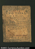 Colonial Notes:Continental Congress Issues, Continental Currency February 17, 1776 $2/3 Fine. A fairly ...