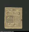 Colonial Notes:Connecticut, October 11, 1777, 5d, Connecticut, CT-217, AU. An attractive ...