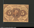 Fractional Currency:First Issue, First Issue 5c, Fr-1231, Fine. Scarce straight edge without ...