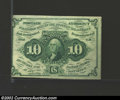 Fractional Currency:First Issue, First Issue 10c, Fr-1242, XF-AU. Straight edge with monogram ...