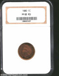 Proof Indian Cents: , 1880 1C PR65 Red NGC. Nicely reflective with pleasing, ...