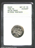 Proof Buffalo Nickels: , 1936 5C Type One--Satin Finish--Altered Surfaces--ANACS. ...