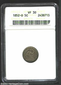 Seated Half Dimes: , 1852-O H10C VF30 ANACS. Generally not located any finer, ...