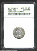 Bust Dimes: , 1834 10C Large 4--Corroded, Cleaned--ANACS. AU Details, Net ...