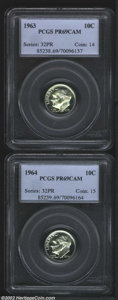Proof Roosevelt Dimes: , 1963 10C PR69 Cameo PCGS, strong cameo contrast, a couple ...