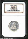 Proof Seated Quarters: , 1880 25C PR65 NGC. Brilliant throughout with deeply ...