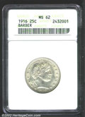 Barber Quarters: , 1916 25C MS62 ANACS. Suitably well frosted for the grade, ...