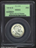 Barber Quarters: , 1916-D 25C MS63 PCGS. Bright and fully lustrous with ...