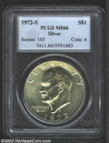 Eisenhower Dollars: , 1972-S $1 Silver MS66 PCGS. Bright and lustrous with ...