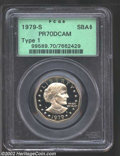 1979-S SBA$ Type One PR70 Deep Cameo PCGS. The depth of mirrored reflectivity in the fields is truly remarkable, and it...