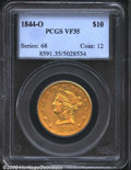 Liberty Eagles: , 1844-O $10 VF35 PCGS. Evenly worn with nice definition ...
