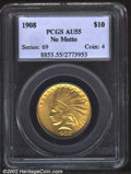 Indian Eagles: , 1908 $10 No Motto AU55 PCGS. Near-full luster with a ...