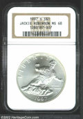 Modern Issues: , 1997-S $1 Jackie Robinson Silver Dollar MS68 NGC. Satin, ...