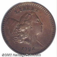 1794 1/2 C AU53 PCGS. B-9, C-9, R.2. Liberty's portrait is in high relief on this obverse die, which was also used to st...