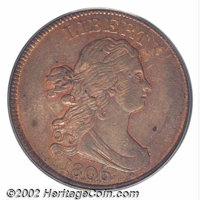 1806 1/2 C Large 6, Stems MS63 Red and Brown PCGS. B-4, C-4, R.1. With slight striking softness over the upper reverse...