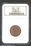 1854 1/2 C MS64 Red NGC. A strong candidate for inclusion in a high quality type set, this frosty textured example is un...