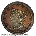 Proof Braided Hair Half Cents: , 1842 1/2 C Restrike PR63 Red and Brown PCGS. B-2, Low R.7....