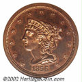 Proof Braided Hair Half Cents: , 1856 1/2 C PR65 Red and Brown NGC. B-3, R.4. This variety,...