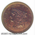 Proof Braided Hair Half Cents: , 1857 1/2 C PR64 Red and Brown PCGS. B-2, R.4. This final-...
