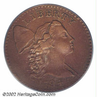 "1794 1C Head of 1794 AU55 PCGS. S-24, R.1. Maris' so-called ""Scarred Head"" variety, that is most easily attrib..."