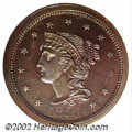 Proof Large Cents: , 1856 1C PR64 Red and Brown NGC. Only one variety is known ...