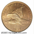1857 1C MS65 NGC. Delicate champagne tinting overlays the otherwise honey-tan surfaces of this well preserved Flying Eag...