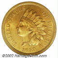 1859 1C MS65 NGC. Even golden color covers both sides of this beautiful, problem-free Gem. Sharply struck throughout wit...