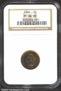Proof Indian Cents: , 1904 1C PR64 Red NGC. A bright yellow-gold near-Gem that ...