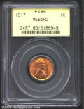 Lincoln Cents: , 1917 1C MS65 Red PCGS. A lustrous Gem with a good strike ...