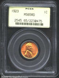 Lincoln Cents: , 1923 1C MS65 Red PCGS. A lustrous Gem that has bright ...