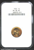 Lincoln Cents: , 1924 1C MS66 Red NGC. Bright apricot and gold color. ...