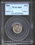 1865 3CN MS65 PCGS. A lustrous steel-gray patina. Some doubling on the legends, and a clear die clash especially on the...