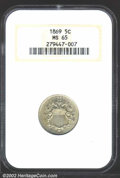Shield Nickels: , 1869 5C MS65 NGC. The date is sharply repunched, with ...