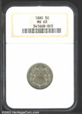 Shield Nickels: , 1880 5C MS63 NGC. Well struck with greenish-gold toning. ...
