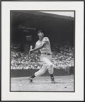 Autographs:Photos, Ted Williams Signed Oversized Photograph. A youthful Splendid Splinter has been captured for this photo as he takes a cut a...