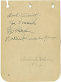 Autographs:Letters, 1935 Cleveland Indians Team Signed Album Page with Walter Johnson.After a prestigious career that saw him gain the univers...