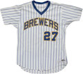 Baseball Collectibles:Uniforms, 1982 Pete Ladd Game Worn Jersey. Pete Ladd had his time to shinewhen he took over an injured Rollie Fingers' job in 1983, ...