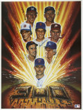 """Baseball Collectibles:Others, 300 Win Club Multi-Signed Lithograph. Ron Lewis created the art forthe attractive 16x20"""" lithograph presented here, which ..."""
