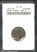 Proof Buffalo Nickels: , 1913 5C Type Two PR64 ANACS. Gorgeous gold and lavender ...