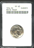 Proof Buffalo Nickels: , 1914 5C PR63 ANACS. Faint yellow-gray patina. A razor-...