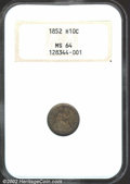 Seated Half Dimes: , 1852 H10C MS64 NGC. Well struck in the centers, with only ...