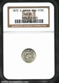 Seated Half Dimes: , 1872-S H10C MS65 NGC. Mintmark above bow. The borders ...