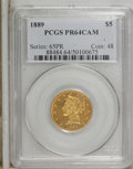Proof Liberty Half Eagles: , 1889 $5 PR64 Cameo PCGS. PCGS Population (2/0). NGC Census: (6/3).(#88484)...