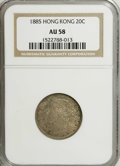 Hong Kong: , Hong Kong: Victoria 20 Cents 1885, KM-7, AU58 NGC, mottled golden gray toning....