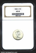 Barber Dimes: , 1900-S 10C MS65 NGC. Bright, white color with great ...