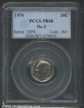 Proof Roosevelt Dimes: , 1970 10C No S PR68 PCGS. Gorgeous golden-brown and mauve-...