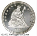 Proof Seated Quarters: , 1867 25C PR65 Cameo NGC. This is the finest Cameo-...