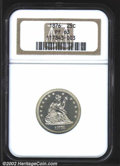 Proof Seated Quarters: , 1876 25C PR63 NGC. Deeply mirrored surfaces with some ...